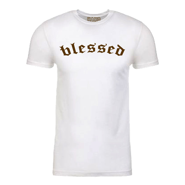 "Men's ""BLESSED"" Sueded Cotton Blend Raw Edge Crew-Neck White/Brown"