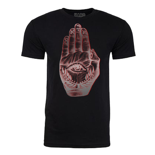 "Men's ""EVIL EYE PALM"" Sueded Cotton Blend Raw Edge Crew-Neck Black/Siver"