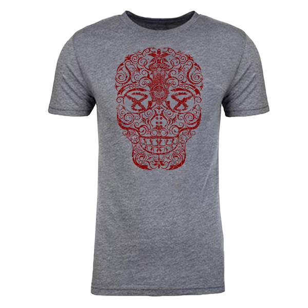 "Men's ""HAND DRAWN SKULL"" Ultra Soft Tri-Blend Raw Edge Crew Neck Heather Grey/Cabernet"