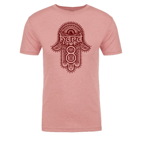 "Men's ""HENNA HAMSA"" Ultra Soft Tri-Blend Raw Edge Crew Neck Heather Dusty Pink/Cabernet"