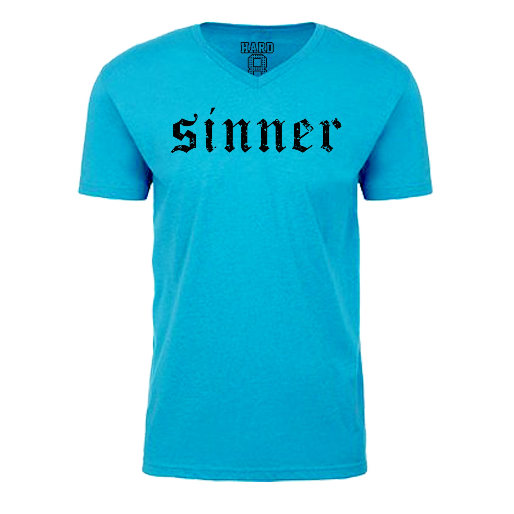 "MEN'S ""SINNER"" Sueded Cotton Blend V-Neck Turq/Black"