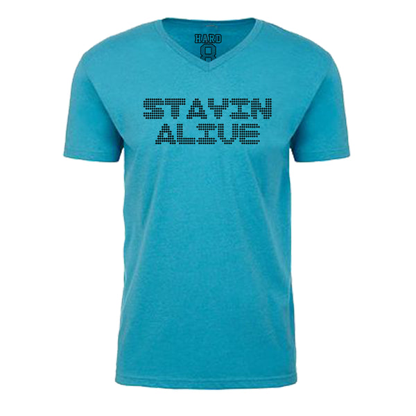 "Men's ""STAYIN ALIVE"" Sueded Cotton Blend V-Neck Turq/Black"