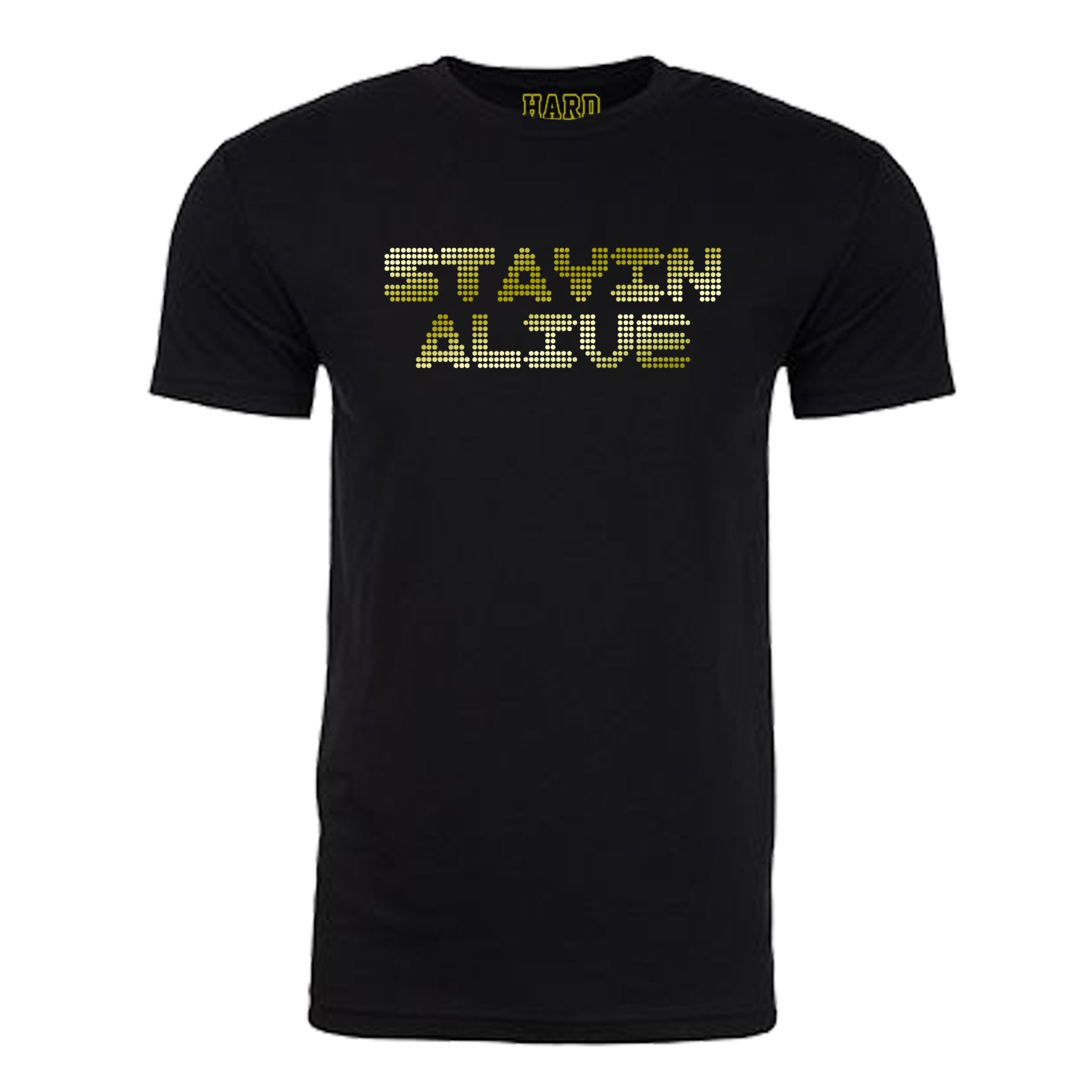 "Men's ""STAYIN ALIVE"" Sueded Cotton Blend Raw Edge Crew-Neck Black/Gold"