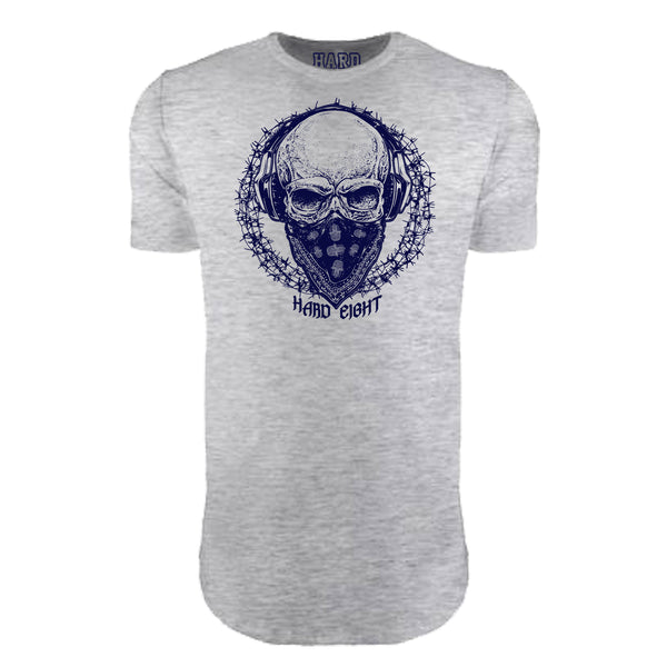 "MEN'S ""BANDANA SKULL"" LAUNDERED COTTON  Long Cut Crew-Neck Heather Grey"