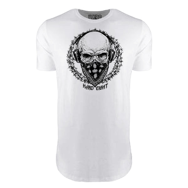 "MEN'S ""BANDANA SKULL"" LAUNDERED COTTON  Long Cut Crew-Neck White"