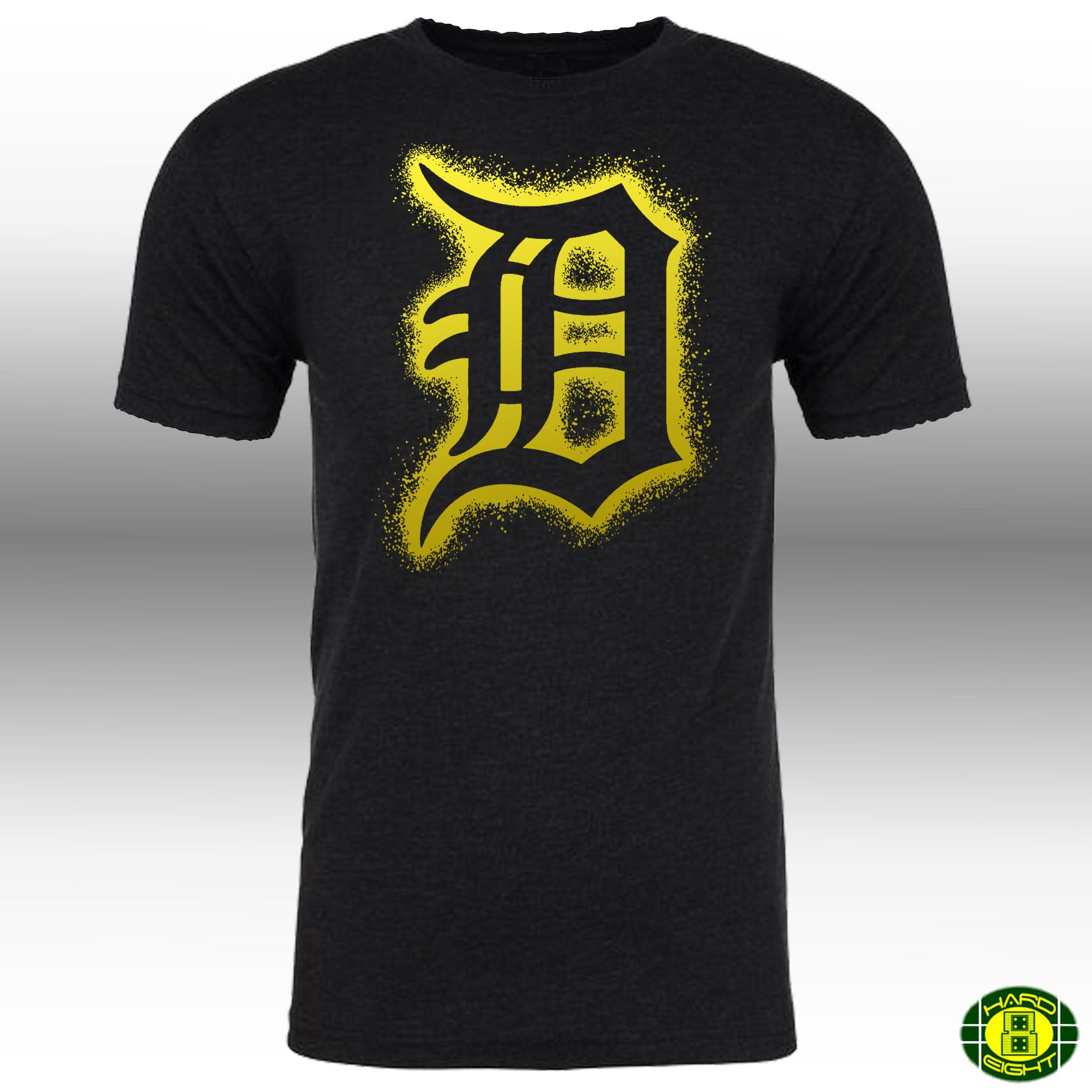 "MEN'S ""STENCIL SPRAY DETROIT"" SUEDED 100% COTTON Raw Edge Crew-Neck Black/Gold"