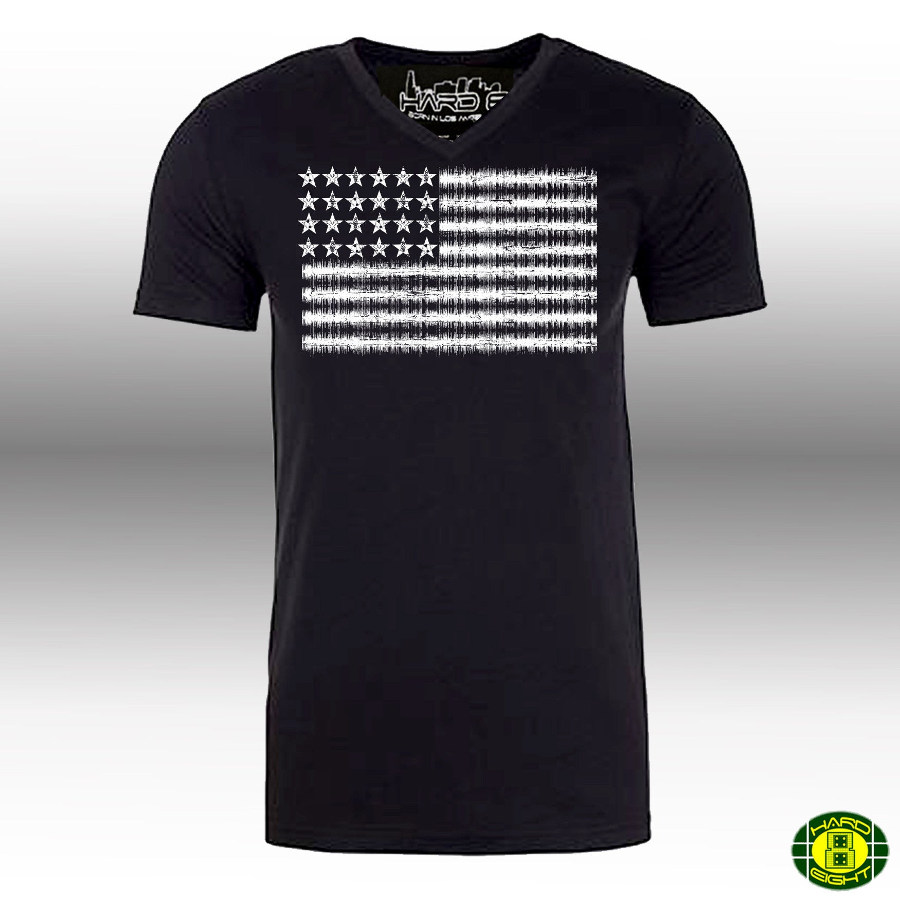 "MEN'S ""FREQUENCY FLAG"" 100% COTTON V-NECK  Black/White SIZE XL"