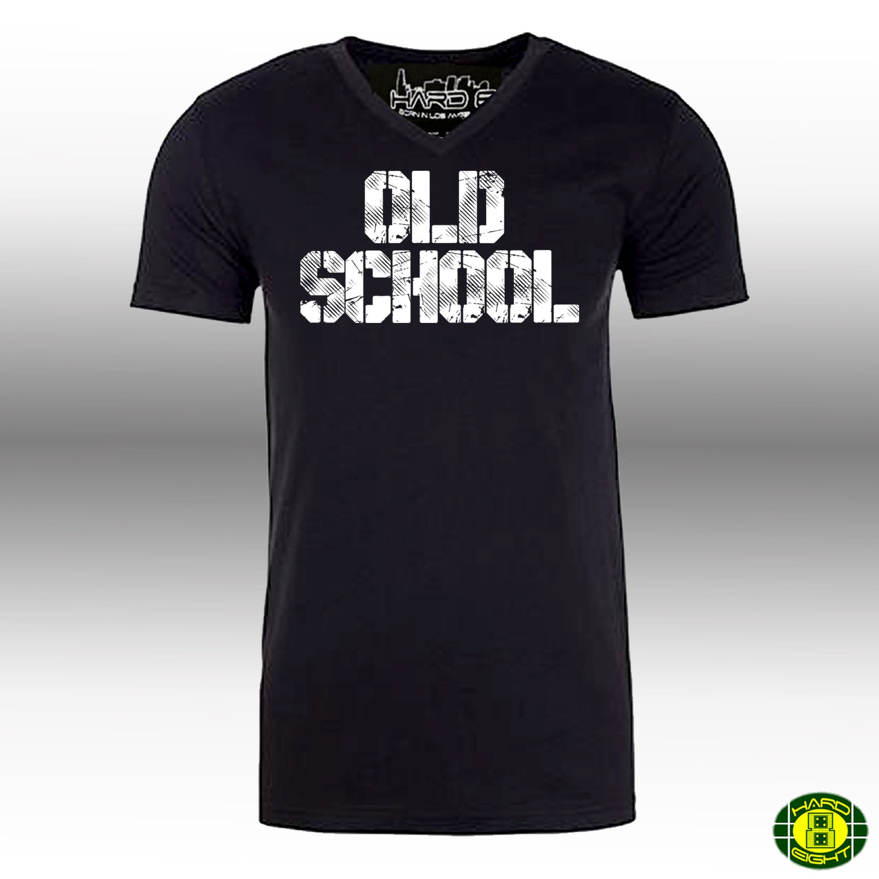 "MEN'S ""OLD SCHOOL"" SUEDED 100% COTTON V-NECK  Black/White"