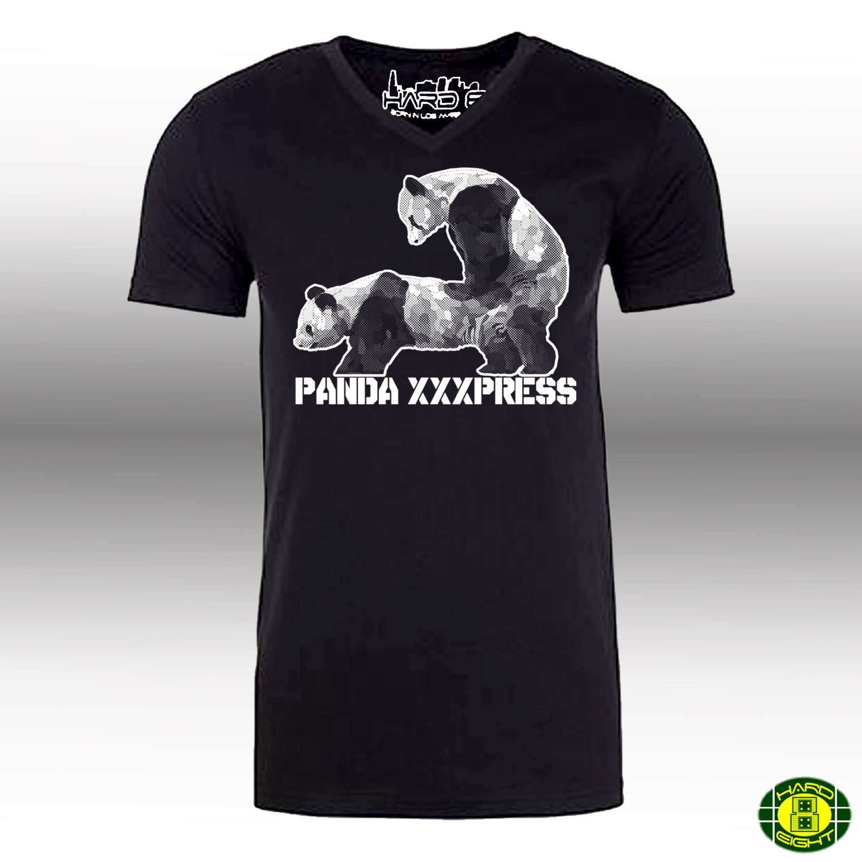 "MEN'S ""PANDA XXXPRESS"" SUEDED COTTON BLEND V-Neck Black"