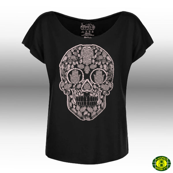 "WOMEN'S ""SKULL-HAMSAS"" FRENCH TERRY DOLMAN TEE Black"