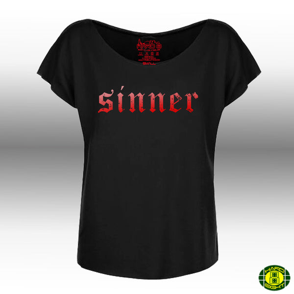 "WOMEN'S ""SINNER"" FRENCH TERRY DOLMAN TEE Black"