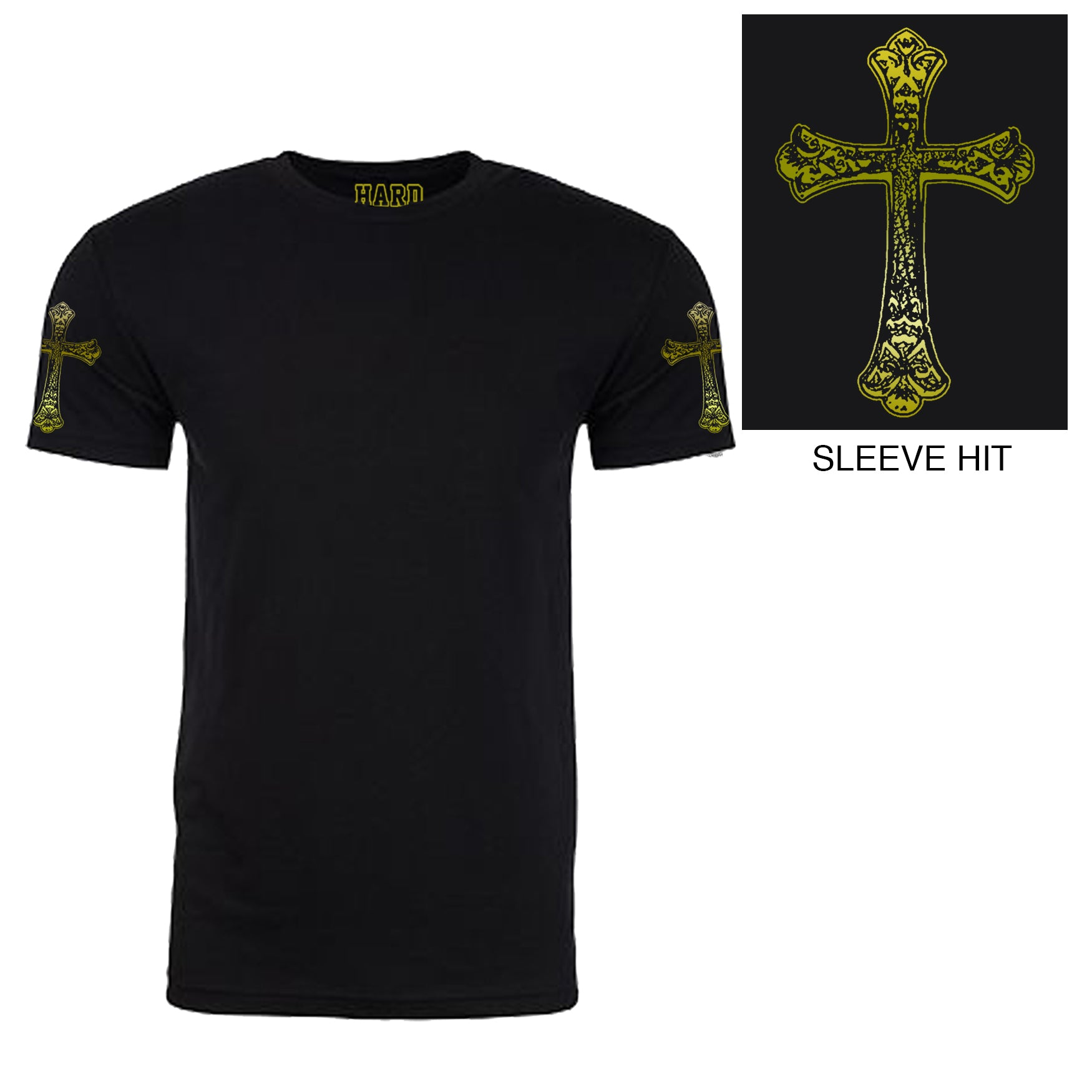 "Men's ""GOTHIC CROSS"" Double Sleeve Print Sueded Cotton Blend Raw Edge Crew-Neck Black/Gold Foil"