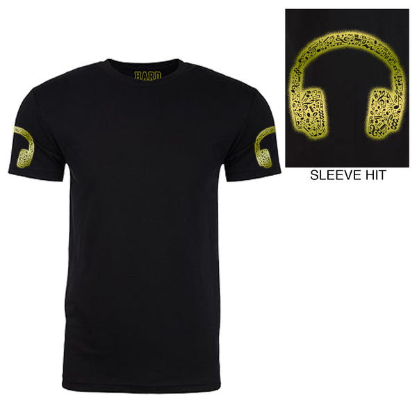 "Men's ""MUSIC HEADPHONES"" Double Sleeve Print Sueded Cotton Blend Raw Edge Crew-Neck Black/Gold Foil"