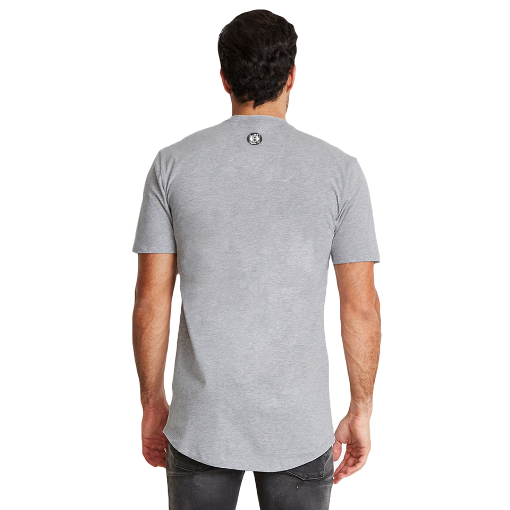 "MEN'S ""KNIFE 8"" LAUNDERED COTTON  Long Cut Crew-Neck Heather/Turq."