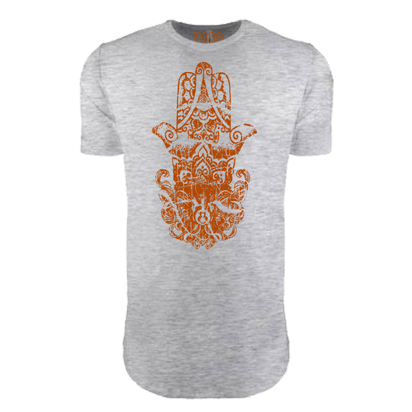 "MEN'S ""HINDU HAMSA"" LAUNDERED COTTON  Long Cut Crew-Neck Heather"