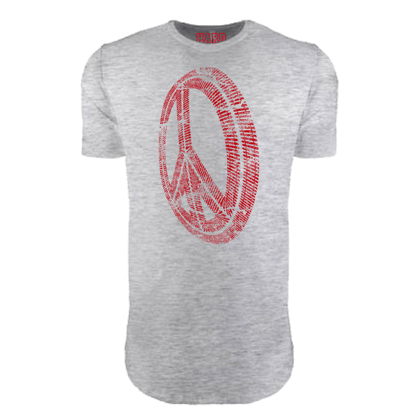 "MEN'S ""PEACE WHEEL"" LAUNDERED COTTON  Long Cut Crew-Neck Heather/Red"