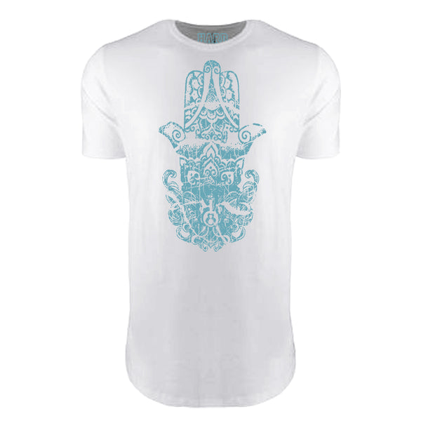 "MEN'S ""HINDU HAMSA"" LAUNDERED COTTON  Long Cut Crew-Neck White"