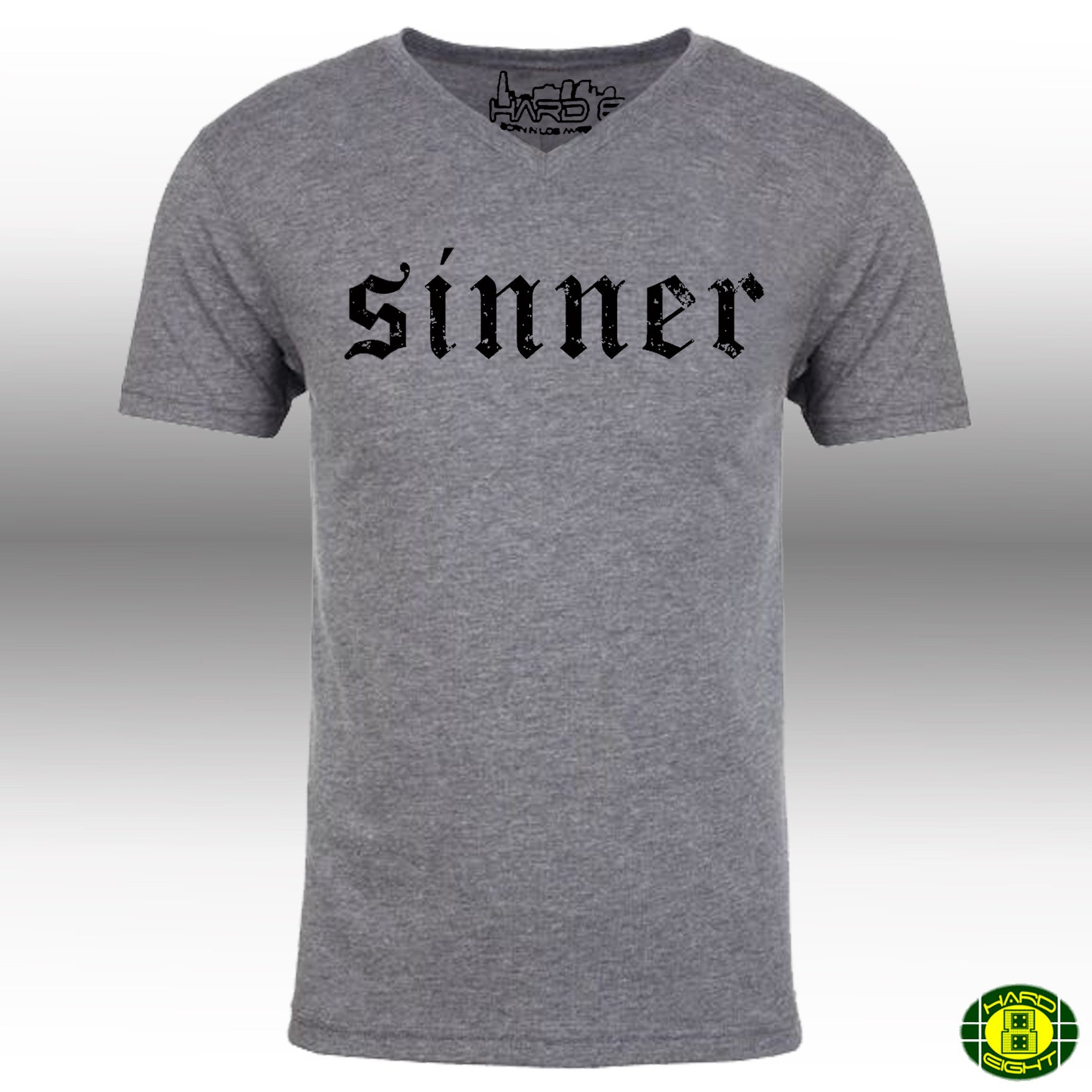 "MEN'S ""SINNER"" ULTRA-SOFT TRIBLEND V-NECK  Premium Heather/Black"