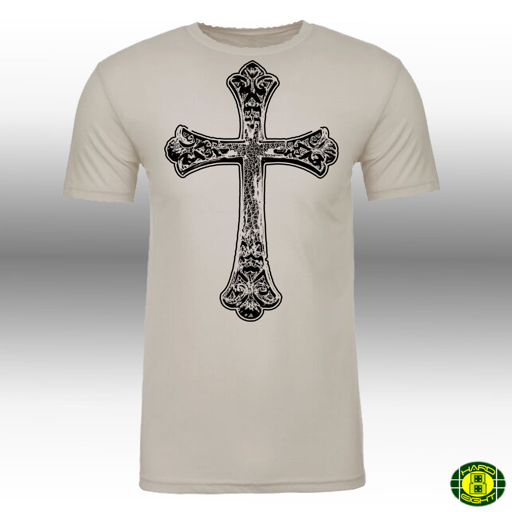 "MEN'S ""GOTHIC CROSS"" SUEDED COTTON BLEND RAW EDGE CREW NECK Natural/Black"