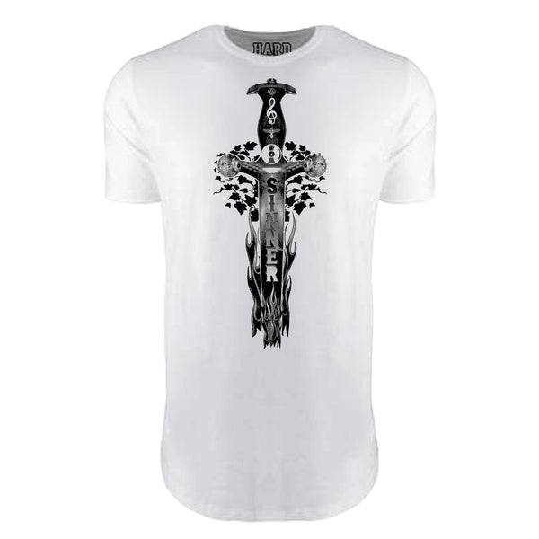 "MEN'S ""SINNER DAGGER"" LAUNDERED COTTON  Long Cut Crew-Neck White"