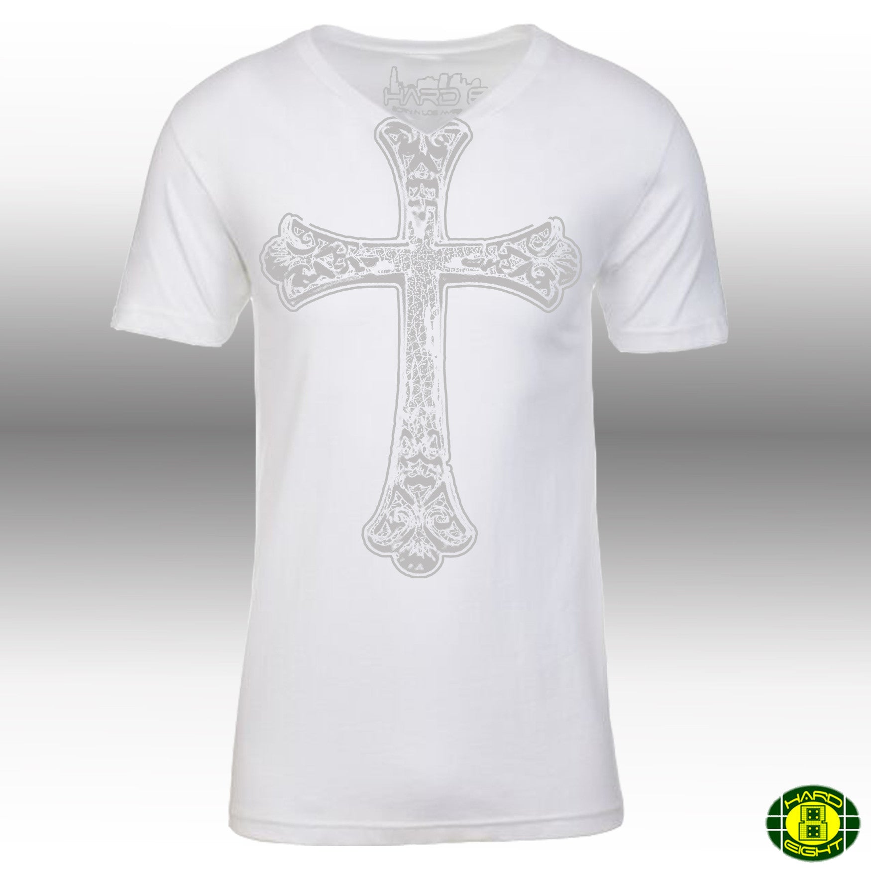 "MEN'S ""GOTHIC CROSS"" SUEDED COTTON BLEND V-Neck White"