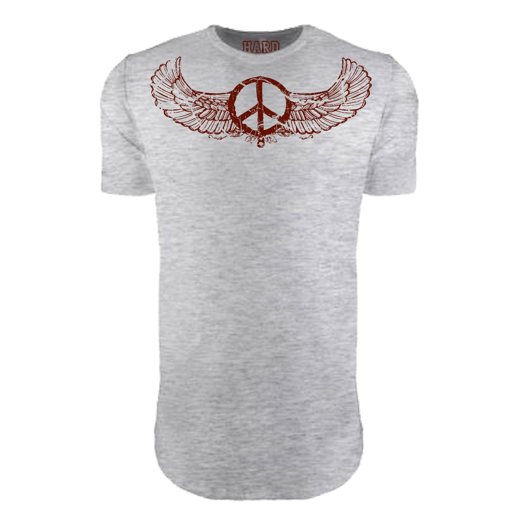 "MEN'S ""WINGED PEACE"" LAUNDERED COTTON  Long Cut Crew-Neck Heather"