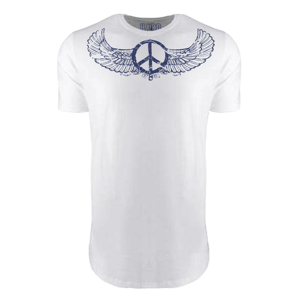 "MEN'S ""WINGED PEACE"" LAUNDERED COTTON  Long Cut Crew-Neck White"