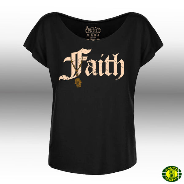"WOMEN'S ""FAITH-HAMSA"" FRENCH TERRY DOLMAN TEE Black"