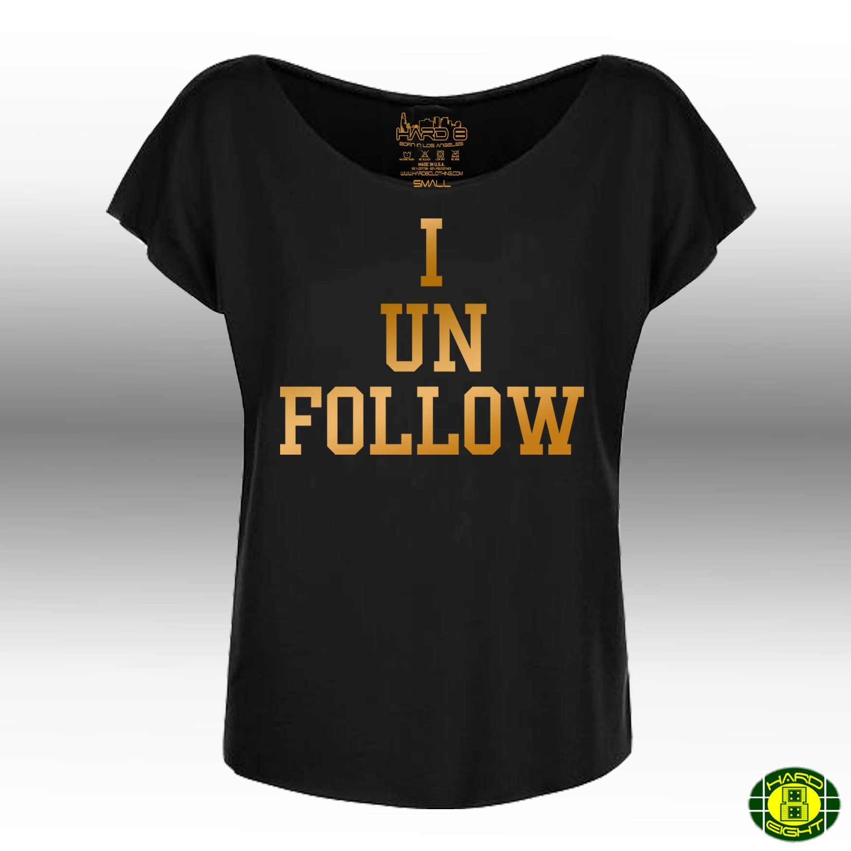 "WOMEN'S ""I UNFOLLOW"" FRENCH TERRY DOLMAN TEE Black"