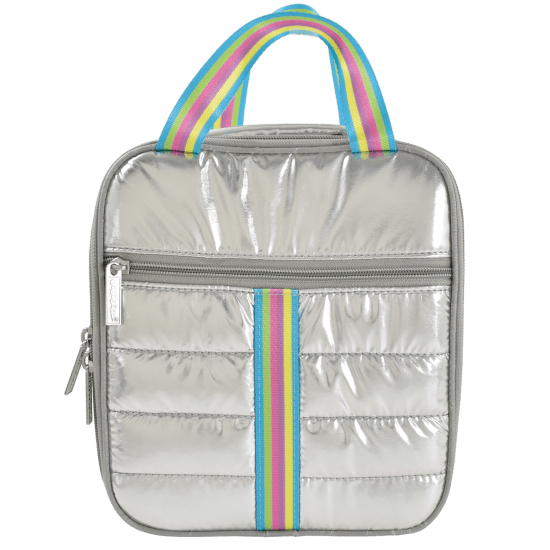 SILVER RAINBOW PUFFER LUNCH TOTE