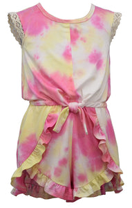 PINK AND YELLOW TIE DYE KNIT SHORT ROMPER