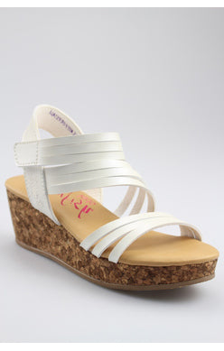 lures kids pearl white wedge sandal