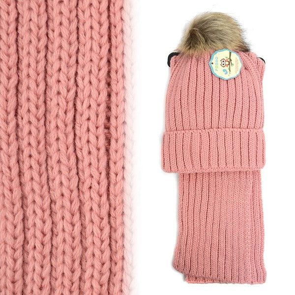 FAUX FUR BEANIE AND SCARF SET