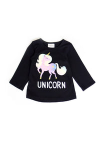 BLACK CREW NECK UNICORN LONG SLEEVE