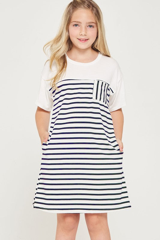 NAVY BUTTON STRIPE DRESS