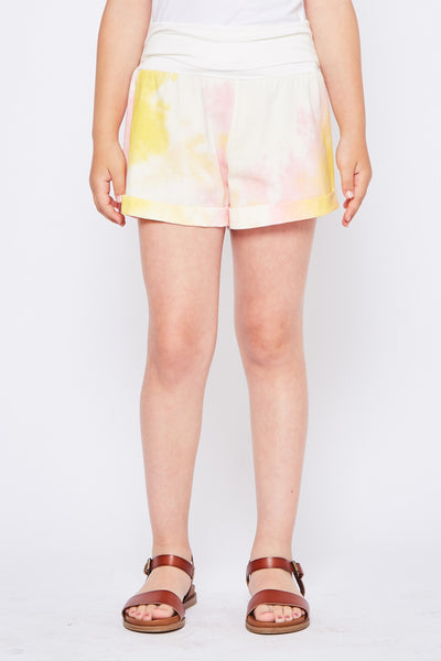 YELLOW/IVORY TIE DYE SHORT