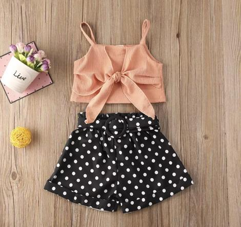 BLACK POLKA DOT SHORTS SET