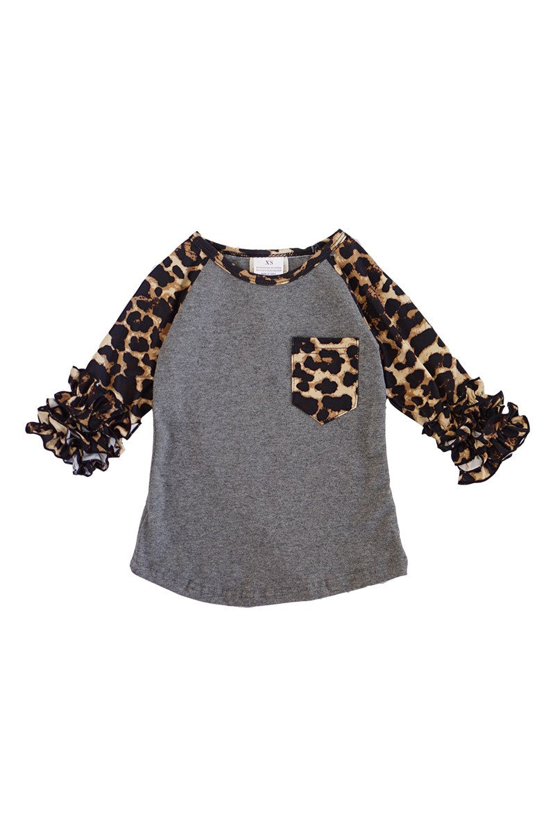 LEOPARD GREY RUFFLE LONG SLEEVE
