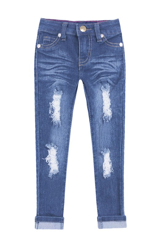 DENIM DISTRESSED SKINNY JEAN