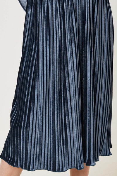 DARK GREY VELVET PLEAT DRESS