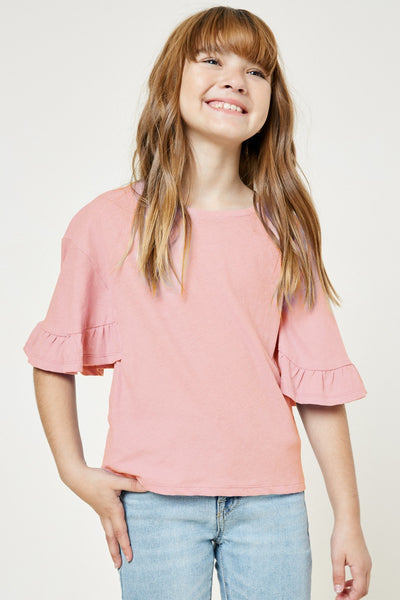 BLUSH RUFFLE SLEEVE TEE