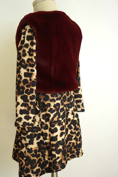 LEOPARD DRESS W/ FAUX FUR VEST AND KNEE HIGHS