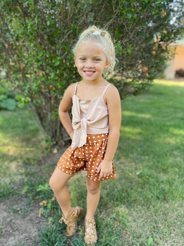 MUSTARD POLKA DOT SHORTS SET
