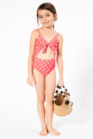 coral polkadot cutout swimsuit