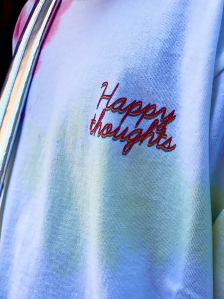 HAPPY THOUGHTS TIE DYE LS TEE