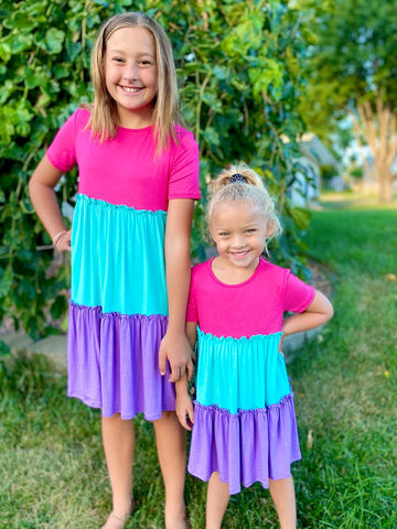 CARLIE PINK/MINT/LAVENDER TIERED DRESS