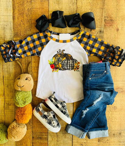 HALLOWEEN PLAID RAGLAN SHIRT