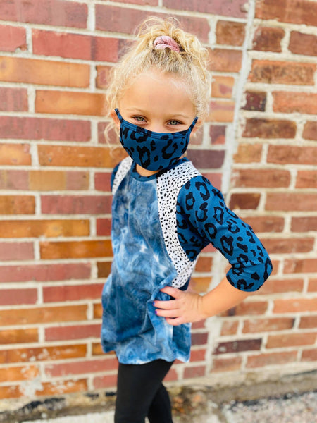 NAVY TIE DYE LEOPARD TOP W/ MASK