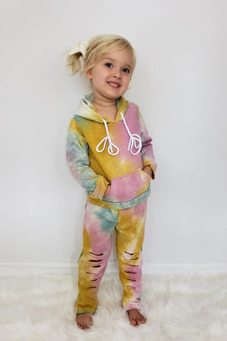 MUSTARD TIE DYE GIRLS SWEAT SET