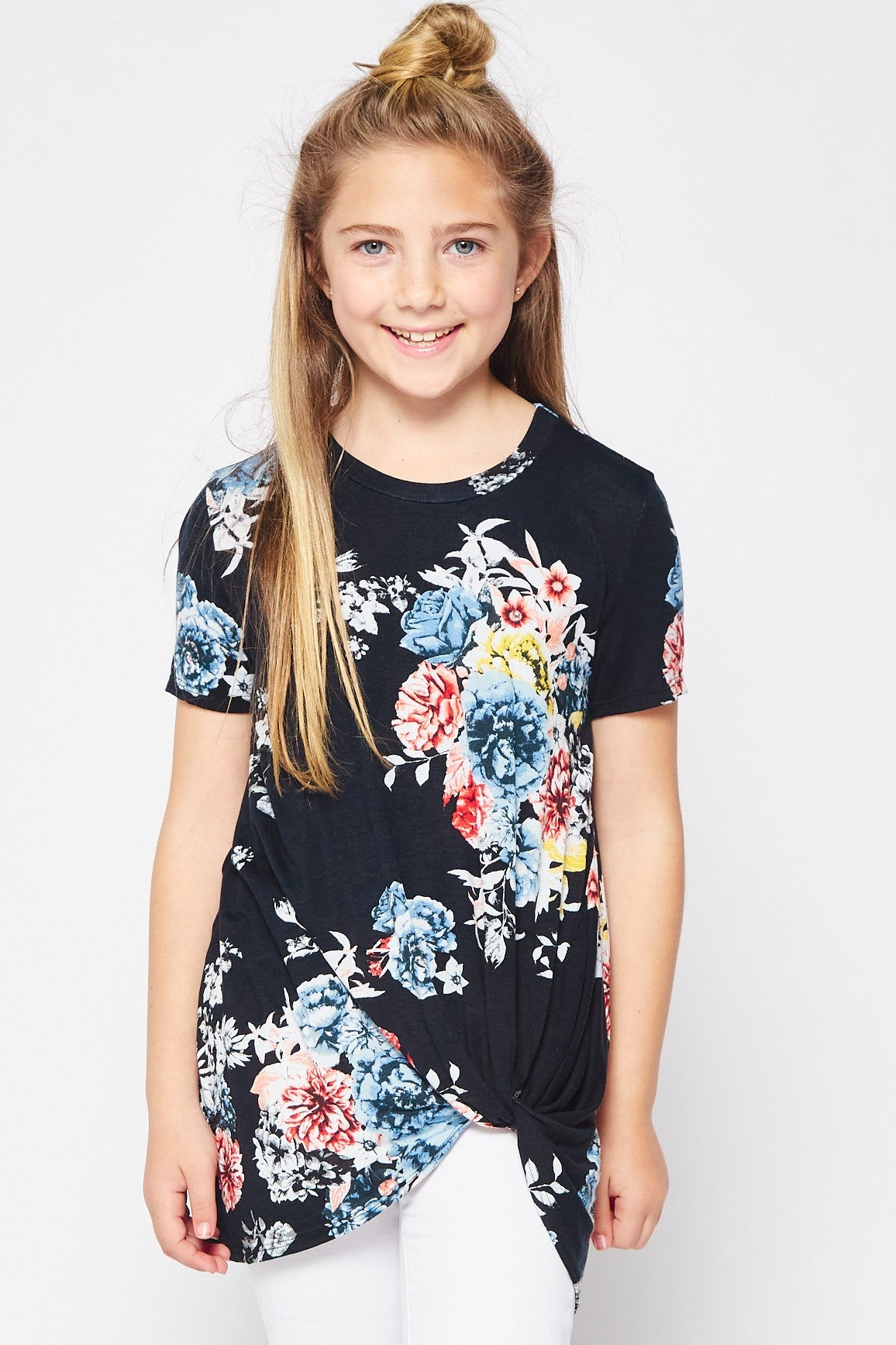 BLACK FLORAL KNOT TOP
